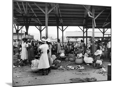 Market Vendors Selling Ground Provisions at the Coronation Market, C.1957--Mounted Photographic Print