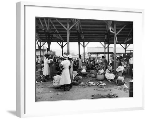 Market Vendors Selling Ground Provisions at the Coronation Market, C.1957--Framed Art Print