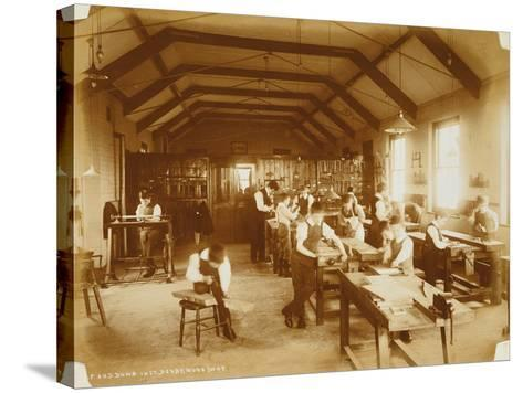 The Workshop at the Deaf and Dumb Institution, Derby, 19th Century--Stretched Canvas Print