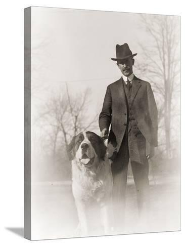 Portrait of Orville Wright and His Dog Scipio, 1917--Stretched Canvas Print