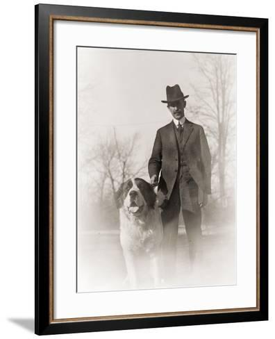 Portrait of Orville Wright and His Dog Scipio, 1917--Framed Art Print