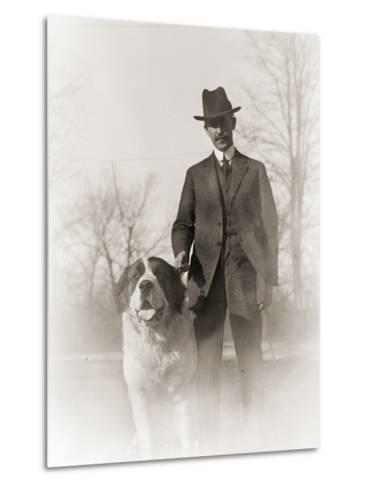 Portrait of Orville Wright and His Dog Scipio, 1917--Metal Print
