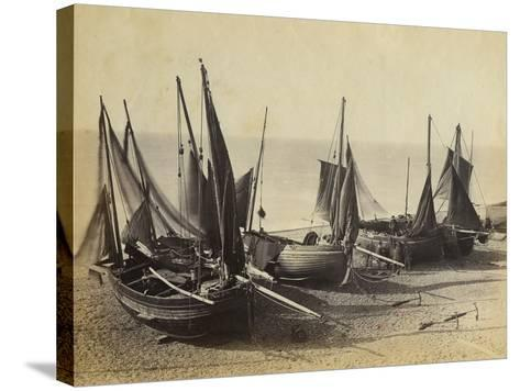 Fishing Boats Pulled Up onto the Beach at Shoreham-By-Sea, C.1880--Stretched Canvas Print