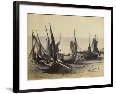Fishing Boats Pulled Up onto the Beach at Shoreham-By-Sea, C.1880--Framed Art Print