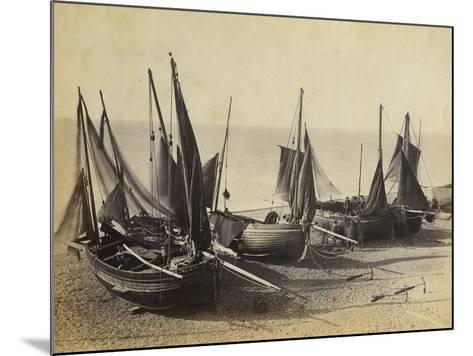 Fishing Boats Pulled Up onto the Beach at Shoreham-By-Sea, C.1880--Mounted Photographic Print