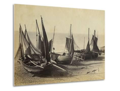 Fishing Boats Pulled Up onto the Beach at Shoreham-By-Sea, C.1880--Metal Print