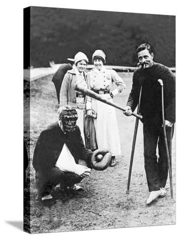 Wounded Soldiers Playing Baseball While Convalescing, C.1915--Stretched Canvas Print