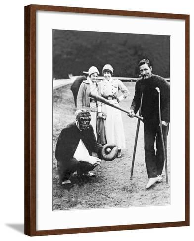 Wounded Soldiers Playing Baseball While Convalescing, C.1915--Framed Art Print