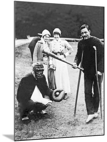 Wounded Soldiers Playing Baseball While Convalescing, C.1915--Mounted Photographic Print