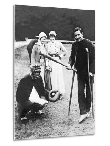 Wounded Soldiers Playing Baseball While Convalescing, C.1915--Metal Print