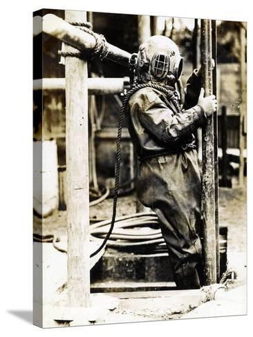 Weight of Dress 200Lbs: the Diver at Winchester Cathedral, 1900S--Stretched Canvas Print