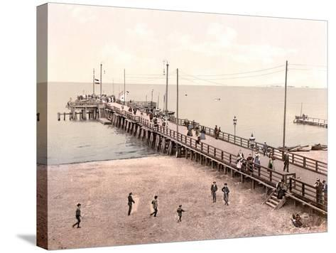Boat Landing at the End of the Pier, Zoppot, Germany, Pub. C.1895--Stretched Canvas Print