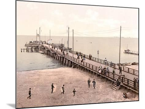 Boat Landing at the End of the Pier, Zoppot, Germany, Pub. C.1895--Mounted Photographic Print