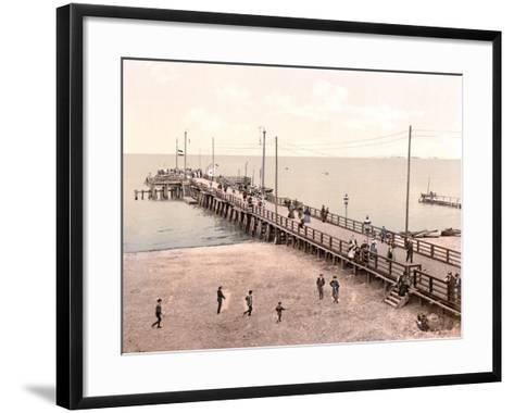Boat Landing at the End of the Pier, Zoppot, Germany, Pub. C.1895--Framed Art Print