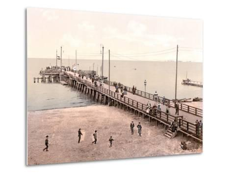 Boat Landing at the End of the Pier, Zoppot, Germany, Pub. C.1895--Metal Print