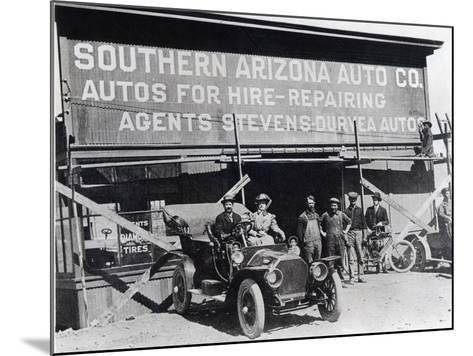 Early Motor Car and Garage, Southern Arizona, C.1910--Mounted Photographic Print