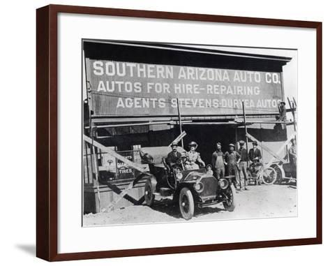 Early Motor Car and Garage, Southern Arizona, C.1910--Framed Art Print