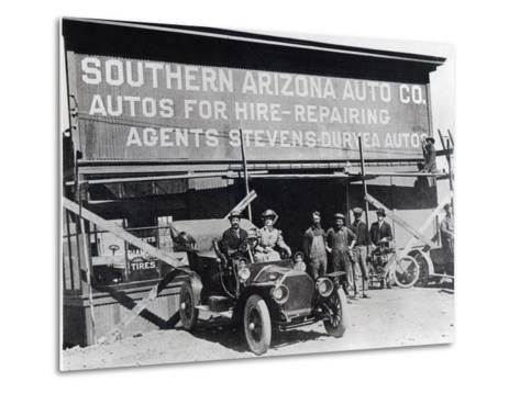Early Motor Car and Garage, Southern Arizona, C.1910--Metal Print