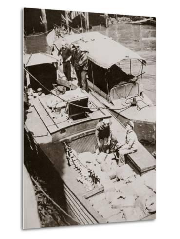 A Rum-Running Boat Caught Smuggling in 2,000 Bottles--Metal Print