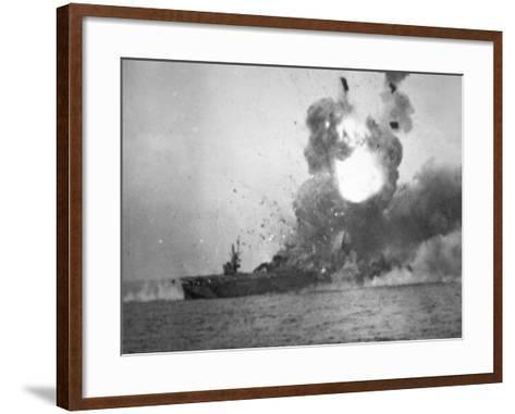 USS St. Lo Explodes, Battle of Leyte Gulf, October 1944--Framed Art Print
