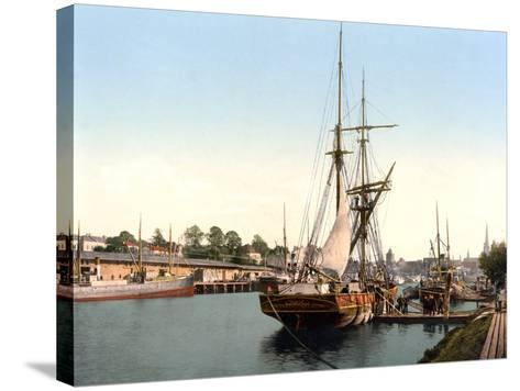 River Barge Moored at Lubeck Harbour, Germany, Pub. C.1895--Stretched Canvas Print