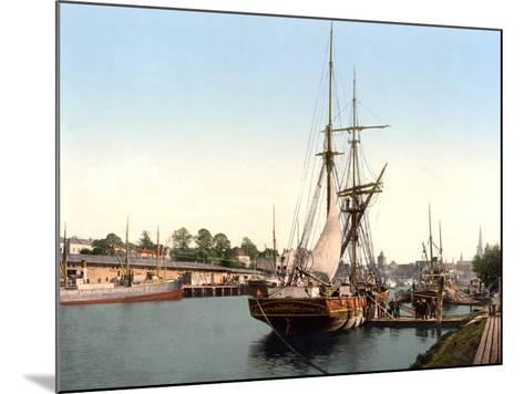 River Barge Moored at Lubeck Harbour, Germany, Pub. C.1895--Mounted Photographic Print