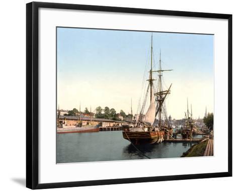River Barge Moored at Lubeck Harbour, Germany, Pub. C.1895--Framed Art Print
