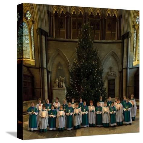 Salisbury Cathedral Choir with Candles and Christmas Tree--Stretched Canvas Print