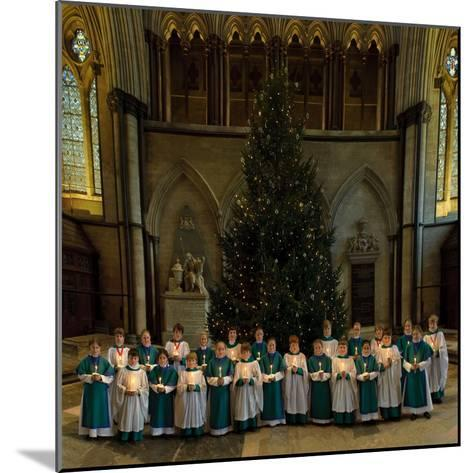 Salisbury Cathedral Choir with Candles and Christmas Tree--Mounted Photographic Print