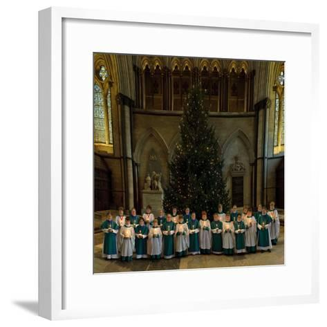 Salisbury Cathedral Choir with Candles and Christmas Tree--Framed Art Print