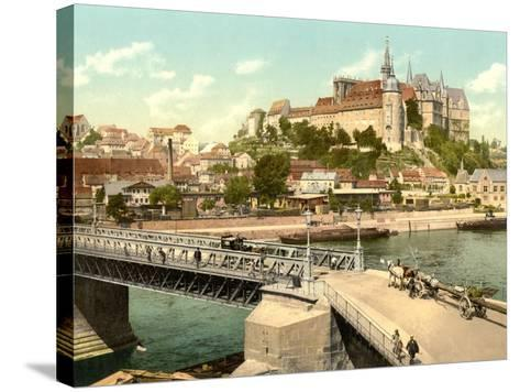 View of Albrechtsburg and Meissen Cathedral from Elbe, Pub. C.1895--Stretched Canvas Print