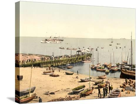 The Beach and Pier, Helgoland, Germany, Pub. C.1895--Stretched Canvas Print