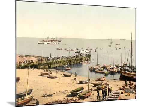 The Beach and Pier, Helgoland, Germany, Pub. C.1895--Mounted Photographic Print