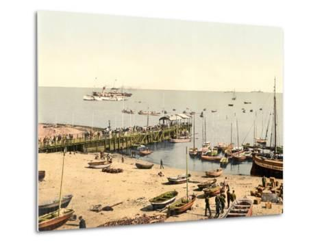 The Beach and Pier, Helgoland, Germany, Pub. C.1895--Metal Print