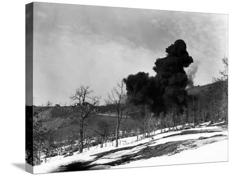 Explosion Used to Detonate German Mines, February 21, 1945--Stretched Canvas Print