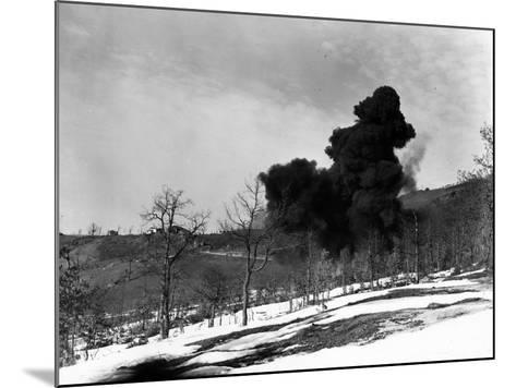 Explosion Used to Detonate German Mines, February 21, 1945--Mounted Photographic Print