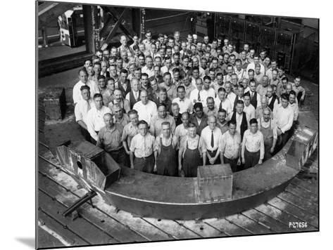 Employee Group Portrait, Within a Section of the Hale Telescope, C.1936-48--Mounted Photographic Print