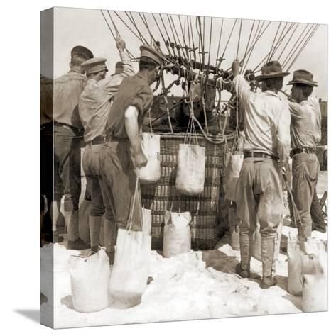 Attaching Sandbags to the Basket of a Balloon, Fort Myer, USA, 1907--Stretched Canvas Print