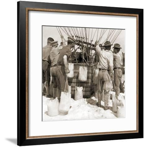 Attaching Sandbags to the Basket of a Balloon, Fort Myer, USA, 1907--Framed Art Print