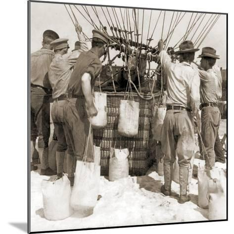 Attaching Sandbags to the Basket of a Balloon, Fort Myer, USA, 1907--Mounted Photographic Print