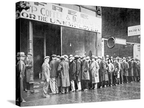 Queue for a Soup Kitchen for the Unemployed in Chicago, C.1933--Stretched Canvas Print