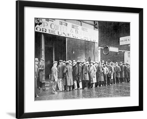 Queue for a Soup Kitchen for the Unemployed in Chicago, C.1933--Framed Art Print