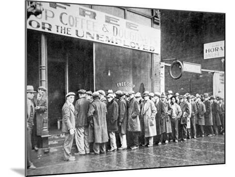 Queue for a Soup Kitchen for the Unemployed in Chicago, C.1933--Mounted Photographic Print