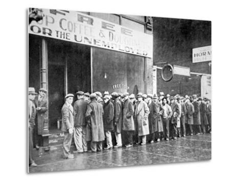 Queue for a Soup Kitchen for the Unemployed in Chicago, C.1933--Metal Print