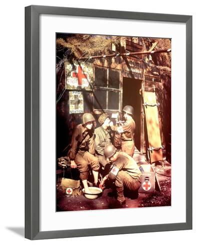U.S. Army Medics are Treating Two Gis, Southern England, 1944--Framed Art Print
