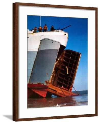 Trucks and Troops are Loaded into a Landing Ship Tank--Framed Art Print