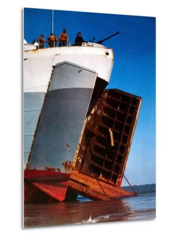 Trucks and Troops are Loaded into a Landing Ship Tank--Metal Print