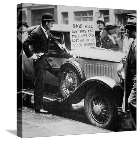 Man Selling His Car, Following the Wall Street Crash of 1929, 1929--Stretched Canvas Print
