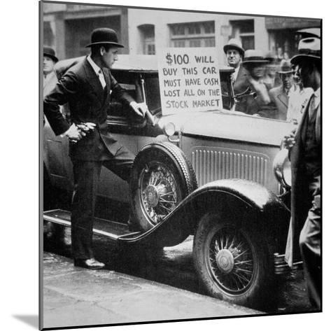 Man Selling His Car, Following the Wall Street Crash of 1929, 1929--Mounted Photographic Print