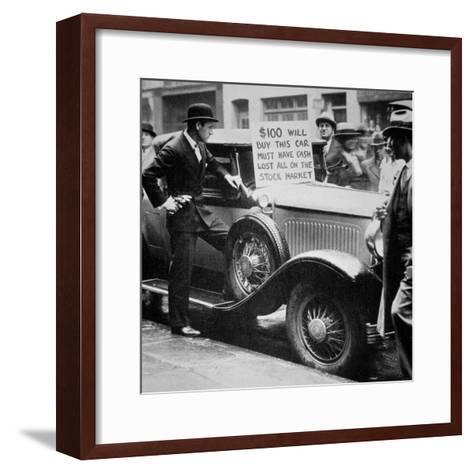 Man Selling His Car, Following the Wall Street Crash of 1929, 1929--Framed Art Print